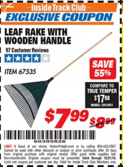 Harbor Freight ITC Coupon LEAF RAKE WITH WOODEN HANDLE Lot No. 67535 Expired: 12/31/18 - $7.99
