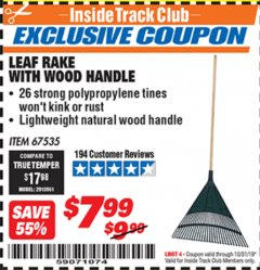 Harbor Freight ITC Coupon LEAF RAKE WITH WOODEN HANDLE Lot No. 67535 Expired: 10/31/19 - $7.99
