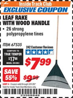 Harbor Freight ITC Coupon LEAF RAKE WITH WOODEN HANDLE Lot No. 67535 Expired: 3/31/20 - $7.99