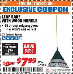 Harbor Freight ITC Coupon LEAF RAKE WITH WOODEN HANDLE Lot No. 67535 Expired: 6/30/20 - $7.99