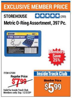 Harbor Freight ITC Coupon 397 PIECE METRIC O-RING ASSORTMENT Lot No. 67580 Valid: 11/1/20 - 12/3/20 - $5.99