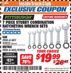 Harbor Freight ITC Coupon 7 PIECE STUBBY RATCHETING COMBINATION WRENCH SETS Lot No. 61401/93923/93922/61402 Expired: 12/31/19 - $19.99