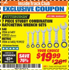 Harbor Freight ITC Coupon 7 PIECE STUBBY RATCHETING COMBINATION WRENCH SETS Lot No. 61401/93923/93922/61402 Expired: 4/30/20 - $19.99