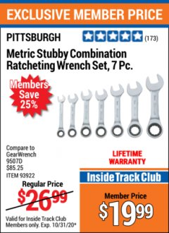 Harbor Freight ITC Coupon 7 PIECE STUBBY RATCHETING COMBINATION WRENCH SETS Lot No. 61401/93923/93922/61402 Valid: 10/3/20 - 10/31/20 - $19.99