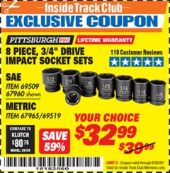 "Harbor Freight ITC Coupon 8 PIECE 3/4"" DRIVE IMPACT SOCKET SETS Lot No. 69509/67960/67965/69519 Dates Valid: 12/31/69 - 6/30/20 - $32.99"
