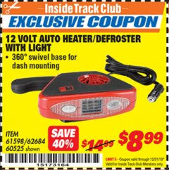 Harbor Freight ITC Coupon 12 VOLT AUTO HEATER/DEFROSTER WITH LIGHT Lot No. 61598/60525/96144 Expired: 12/31/19 - $8.99