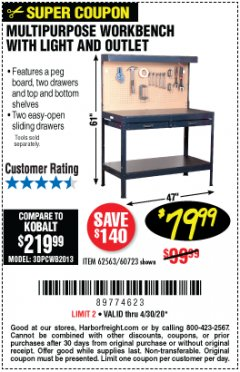 Harbor Freight Coupon MULTIPURPOSE WORKBENCH WITH LIGHTING AND OUTLET Lot No. 62563/60723/99681 EXPIRES: 6/30/20 - $79.99