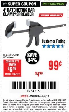 "Harbor Freight Coupon 4"" RATCHETING BAR CLAMP/SPREADER Lot No. 46805/62242/68974 Expired: 8/4/19 - $0.99"