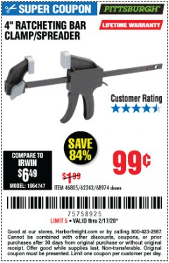 "Harbor Freight Coupon 4"" RATCHETING BAR CLAMP/SPREADER Lot No. 46805/62242/68974 Expired: 2/17/20 - $0.99"