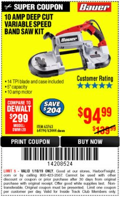 Harbor Freight ITC Coupon BAUER 10 AMP DEEP CUT VARIABLE SPEED BAND SAW KIT Lot No. 63763/64194/63444 Expired: 1/10/19 - $94.99