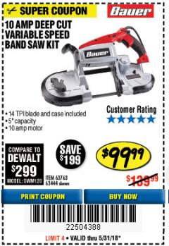 Harbor Freight Coupon BAUER 10 AMP DEEP CUT VARIABLE SPEED BAND SAW KIT Lot No. 63763/64194/63444 Expired: 5/31/18 - $99.99
