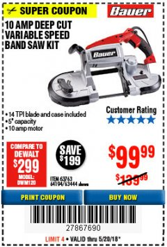 Harbor Freight Coupon BAUER 10 AMP DEEP CUT VARIABLE SPEED BAND SAW KIT Lot No. 63763/64194/63444 Expired: 5/20/18 - $99.99