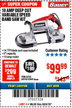 Harbor Freight Coupon BAUER 10 AMP DEEP CUT VARIABLE SPEED BAND SAW KIT Lot No. 63763/64194/63444 Expired: 6/24/18 - $99.99