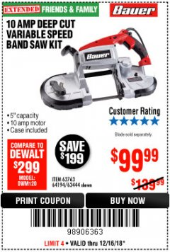 Harbor Freight Coupon BAUER 10 AMP DEEP CUT VARIABLE SPEED BAND SAW KIT Lot No. 63763/64194/63444 Expired: 12/16/18 - $99.99