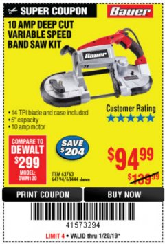 Harbor Freight Coupon BAUER 10 AMP DEEP CUT VARIABLE SPEED BAND SAW KIT Lot No. 63763/64194/63444 Expired: 1/20/19 - $94.99