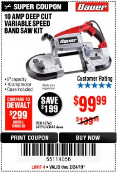 Harbor Freight Coupon BAUER 10 AMP DEEP CUT VARIABLE SPEED BAND SAW KIT Lot No. 63763/64194/63444 Expired: 2/24/19 - $99.99