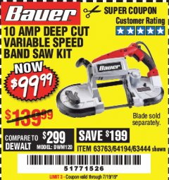 Harbor Freight Coupon BAUER 10 AMP DEEP CUT VARIABLE SPEED BAND SAW KIT Lot No. 63763/64194/63444 Expired: 7/19/19 - $99.99
