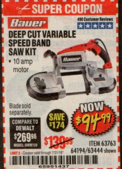 Harbor Freight Coupon BAUER 10 AMP DEEP CUT VARIABLE SPEED BAND SAW KIT Lot No. 63763/64194/63444 Expired: 7/31/19 - $94.99