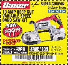 Harbor Freight Coupon BAUER 10 AMP DEEP CUT VARIABLE SPEED BAND SAW KIT Lot No. 63763/64194/63444 Expired: 11/12/19 - $99.99