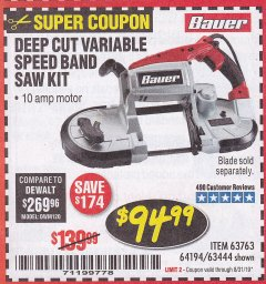 Harbor Freight Coupon BAUER 10 AMP DEEP CUT VARIABLE SPEED BAND SAW KIT Lot No. 63763/64194/63444 Expired: 8/31/19 - $94.99
