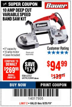 Harbor Freight Coupon BAUER 10 AMP DEEP CUT VARIABLE SPEED BAND SAW KIT Lot No. 63763/64194/63444 Expired: 8/25/19 - $94.99