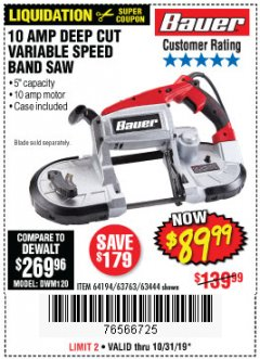 Harbor Freight Coupon BAUER 10 AMP DEEP CUT VARIABLE SPEED BAND SAW KIT Lot No. 63763/64194/63444 Expired: 10/31/19 - $89.99