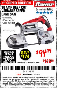 Harbor Freight Coupon BAUER 10 AMP DEEP CUT VARIABLE SPEED BAND SAW KIT Lot No. 63763/64194/63444 Expired: 12/31/19 - $94.99