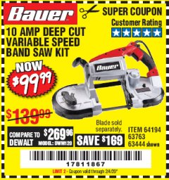 Harbor Freight Coupon BAUER 10 AMP DEEP CUT VARIABLE SPEED BAND SAW KIT Lot No. 63763/64194/63444 Expired: 2/4/20 - $99.99