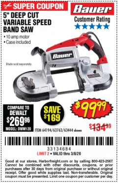 Harbor Freight Coupon BAUER 10 AMP DEEP CUT VARIABLE SPEED BAND SAW KIT Lot No. 63763/64194/63444 Expired: 2/8/20 - $99.99