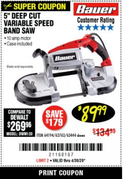 Harbor Freight Coupon BAUER 10 AMP DEEP CUT VARIABLE SPEED BAND SAW KIT Lot No. 63763/64194/63444 Expired: 6/30/20 - $89.99
