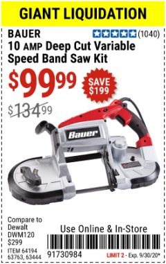 Harbor Freight Coupon BAUER 10 AMP DEEP CUT VARIABLE SPEED BAND SAW KIT Lot No. 63763/64194/63444 Expired: 9/30/20 - $99.99