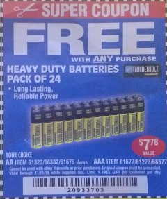 Harbor Freight FREE Coupon 24 PACK HEAVY DUTY BATTERIES Lot No. 61675/68382/61323/61677/68377/61273 Expired: 11/11/18 - FWP