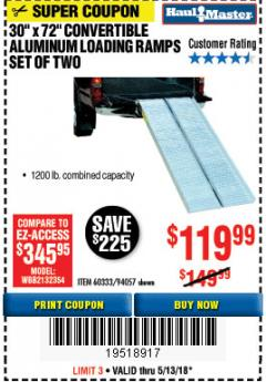 Harbor Freight Coupon CONVERTIBLE ALUMINUM LOADING RAMP Lot No. 94057/60333 Expired: 5/13/18 - $119.99