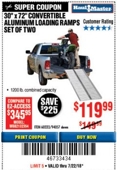 Harbor Freight Coupon CONVERTIBLE ALUMINUM LOADING RAMP Lot No. 94057/60333 Expired: 7/22/18 - $119.99