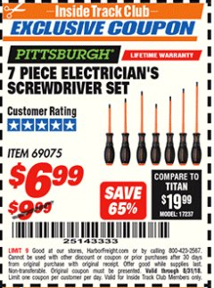 Harbor Freight ITC Coupon 7 PIECE ELECTRICIAN'S SCREWDRIVER SET Lot No. 69075 Expired: 8/31/18 - $6.99