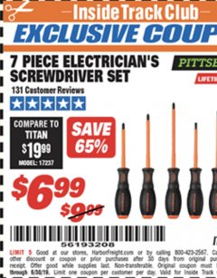 Harbor Freight Coupon 7 PIECE ELECTRICIAN'S SCREWDRIVER SET Lot No. 69075 Expired: 6/17/19 - $6.99