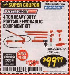 Harbor Freight Coupon 4 TON HEAVY DUTY PORTABLE HYDRAULIC EQUIPMENT KIT Lot No. 62115/44899/60407 Expired: 3/31/19 - $99.99