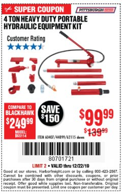 Harbor Freight Coupon 4 TON HEAVY DUTY PORTABLE HYDRAULIC EQUIPMENT KIT Lot No. 62115/44899/60407 Expired: 12/22/19 - $99.99