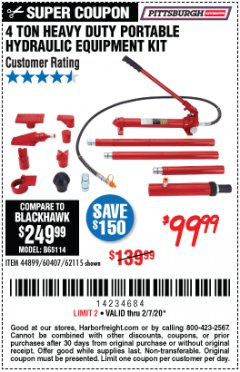Harbor Freight Coupon 4 TON HEAVY DUTY PORTABLE HYDRAULIC EQUIPMENT KIT Lot No. 62115/44899/60407 Expired: 2/7/20 - $99.99