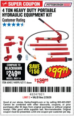 Harbor Freight Coupon 4 TON HEAVY DUTY PORTABLE HYDRAULIC EQUIPMENT KIT Lot No. 62115/44899/60407 Expired: 2/29/20 - $99.99