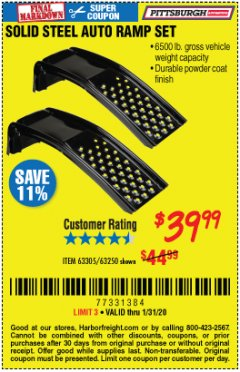 Harbor Freight Coupon 2 PIECE SOLID STEEL AUTO RAMP SET Lot No. 68365/63305/63250 Expired: 1/31/20 - $39.99