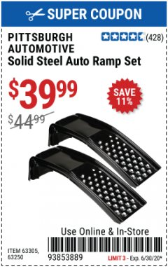 Harbor Freight Coupon 2 PIECE SOLID STEEL AUTO RAMP SET Lot No. 68365/63305/63250 Expired: 6/30/20 - $39.99