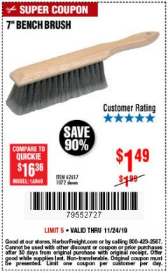 "Harbor Freight Coupon 7"" Bench Brush Lot No. 62617 / 1072 Expired: 11/24/19 - $1.49"