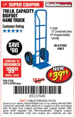 Harbor Freight Coupon BIGFOOT HAND TRUCK Lot No. 62974/62900/67568/97568 Expired: 7/31/18 - $39.99