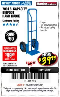 Harbor Freight Coupon BIGFOOT HAND TRUCK Lot No. 62974/62900/67568/97568 Expired: 10/21/18 - $39.99