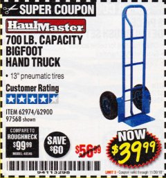 Harbor Freight Coupon BIGFOOT HAND TRUCK Lot No. 62974/62900/67568/97568 Expired: 11/30/18 - $39.99