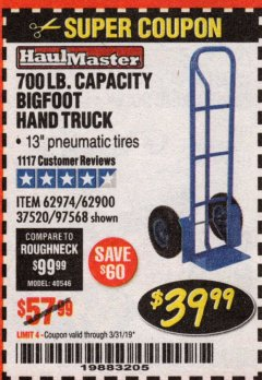 Harbor Freight Coupon BIGFOOT HAND TRUCK Lot No. 62974/62900/67568/97568 Expired: 3/31/19 - $39.99