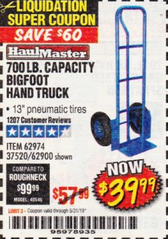 Harbor Freight Coupon BIGFOOT HAND TRUCK Lot No. 62974/62900/67568/97568 Expired: 5/31/19 - $39.99
