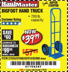 Harbor Freight Coupon BIGFOOT HAND TRUCK Lot No. 62974/62900/67568/97568 Expired: 7/19/19 - $39.99