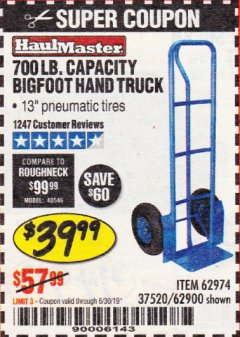 Harbor Freight Coupon BIGFOOT HAND TRUCK Lot No. 62974/62900/67568/97568 Expired: 6/30/19 - $39.99